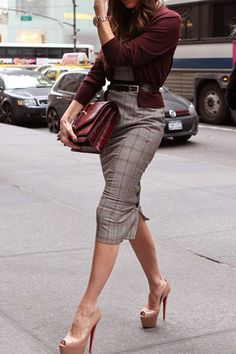 Burgundy sweater, grey window pane dress, nude platform louboutins