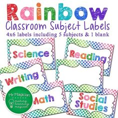 FREE Rainbow Classroom Subject Labels 4x6 (includes blank)