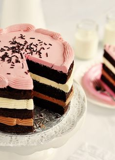 Inside-Out Neapolitan Cake: 3 layers of a southern take on Devil's Food Cake, including some rich and decadent ingredients such as mayonnaise, butter, and extra dark cocoa powder