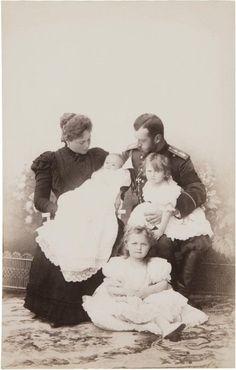 Tsarina Alexandra Feodorovna, Grand Duchess Maria, Grand Duchess Olga, Grand Duchess Tatiana and Tsar Nicholas II of Russia, 1899.