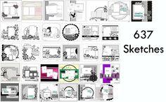 Scrapbook Layouts: 637 Free Scrapbook Layout Sketches download