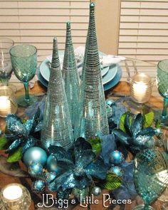sparkl tablescap, blue christmas, color, aqua sparkl, christma tablescap, tablescapesth holiday, blue centerpiec, blues, beauti tablescap