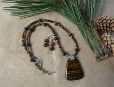 Golden Brown Tiger Eye Necklace with Pendant by Lonesomedesigns, $45.00