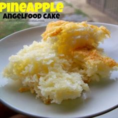 NO FAT/ DIET-FRIENDLY Pineapple Angel Food Cake Recipe:  Just two ingredients!!   1 large can crushed pineapple w/juice and 1 box angel food cake mix.  Blend in large bowl and bake 350 for 30 min. in 9x13 ungreased pan.  Oh so easy!  1/12 cake =165 calories