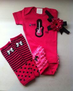 Girls Custom Boutique Clothing, Rock Star, Guitar Baby, Ruffle But Onesie w Flower Headband w Blinged Leg Warmers, Punk Baby, LS Onesie