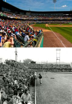 In the top frame the Salt Lake Bees play the Albuquerque Isotopes in a AAA baseball matchup, Tuesday May 20, 2014 at Smith's Ballpark in Salt Lake City. Below is an undated photo from Community Park, which was on the same piece of ground as the modern day ballpark. Community Park burned down in 1947 and was rebuilt as Derk's Field.