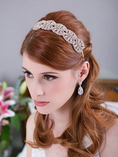 Gold Crystal Headband crystal tiara Bridal Halo by GildedShadows, $78.00