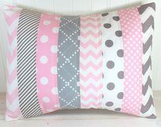 Throw Pillow Cover, Nursery Cushion Cover, Nursery Decor, Crib Bedding, Baby Girl Nursery Pillow, 12 x 16 Inches, Baby Pink and Gray Chevron...