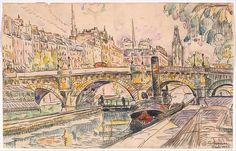 Paul Signac (French, 1863–1935). Tugboat at the Pont Neuf, Paris, 1923. The Metropolitan Museum of Art., New York. Robert Lehman Collection, 1975 (1975.1.717)