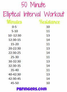 50 minute elliptical interval workout