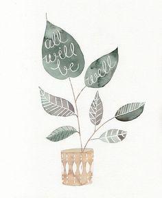 well print, art, inspir, word, all will be well, quot, illustr, design, julianna swaney