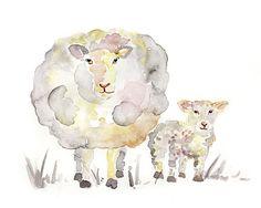 Sheep Art Print Baby Animal Painting by LightheartedDreamer,