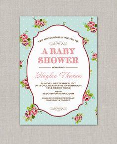 Shabby Chic Baby Shower Invitation.