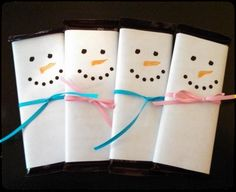 Snowman candy bar wrappers for student Christmas gifts sample