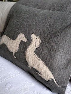 Perfect for our office! Hand printed dachshund pair cushion