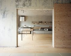 light wood floors, concrete walls...Japanese architects Jun Inokuma of Naruse Inokuma and Hiroko Karibe