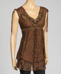 Brown Pull-Tab Linen-Blend Tunic