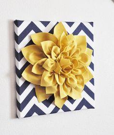 Wall Flower -Mellow Yellow Dahlia on Navy and White Chevron 12 x12 Canvas Wall Art- 3D Felt Flower