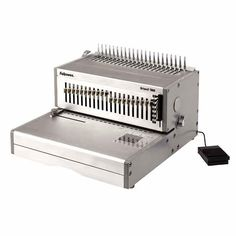 """The new Fellowes Orion E 500 Electric Comb Binding Machine is a heavy-duty commercial binding machine for high volume use. With effortless foot pedal operation for maximum ease of use, the Orion E 500 is capable of electronically punching up to 30 sheets at a time, and can bind up to 500 sheets with a 2"""" comb. Featuring 21 releasable dies, it can handle a variety of document sizes up to 12"""" wide, plus has an adjustable punch depth for extra-large documents."""
