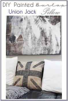 DIY Painted Burlap Union Jack Pillow Tutorial www.settingforfour