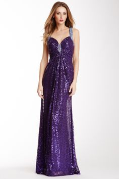 Love this! Open Back Sequin Gown. This is also available in Peacock or Nude.  All three are just gorgeous and I couldn't decide which to pin.