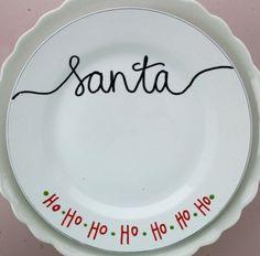 Santa Cookie Plate Handpainted Ceramic Plate-Christmas on Etsy, $10.00