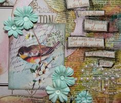 Pretty Bird Collage using image from Crafty Secrets Bird and Blossoms Digital Scraps by Christy Butters for  Craft Hoarders Anonymous Challenge 15