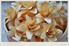 Natural Birch Layered Lily Flowers made of Birch Shavings