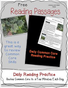 Free Daily Common Core Reading Passages  **Visit Literacy and Math Ideas to access this Common Core Freebie.**