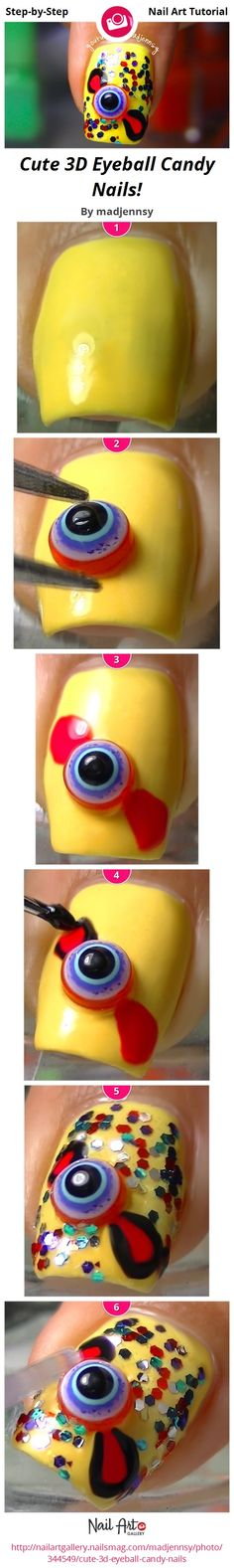 Cute 3D Eyeball Candy Nails! by madjennsy - Nail Art Gallery Step-by-Step Tutorials nailartgallery.nailsmag.com by Nails Magazine www.nailsmag.com #nailart