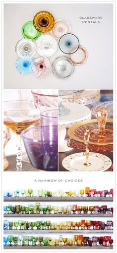idea, glasswar, glasses, vintage, rainbows, dinner parti, color glass, collect, colored glass