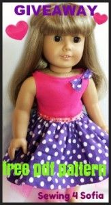 Summer dress for American Doll free pdf sewing pattern