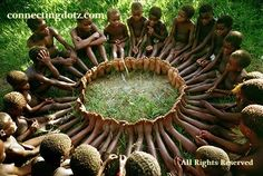 "The Osani Circle Game by  Jean-Pierre Hallet (1960's) via  tanzania365.com: Efé children of the Ituri Forest in Zaire sit in a circle, feet touching. Each child in turn names a round object like the sun, the moon, a star, an eye and then names a figurative expression of ""round"" like the circle of the family and are eliminated when they fail. The last player will live a long and prosperous life. Hallet was a a Belgian humanitarian and champion for the Efe. #Jeanne_Pierre_Hallet #Osani_Circle_Game"