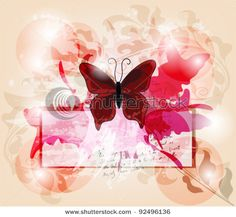 grunge invitation card with big butterfly