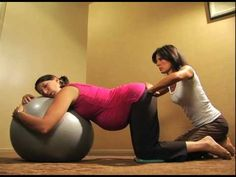 Exercise balls or birth balls as doulas call them, are used a lot during labor, especially if a client is experiencing pain or intense pressure in her lower back. This video shows one technique that alleviates discomfort and can help make room for the baby to rotate into an ideal position.