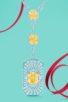The Tiffany Radiance necklace in platinum with Fancy Vivid Yellow and white diamonds. #TiffanyPinterest