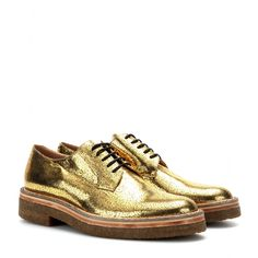 mytheresa.com - Cracked metallic-leather derby shoes - loafers & moccasins - Shoes - Sale - Luxury Fashion for Women / Designer clothing, sh... derbi shoe, moccasin