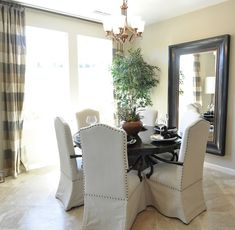 circular dining table and mirror