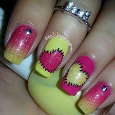 miawrrr #nail #nails #nailart cute pink and yellow nails, heart nails, paper dolls, nail arts, valentine nails, nail art with hearts, nail nailart, valentin nail