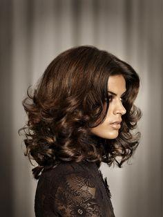 Mid-length, Brunette, curly hair