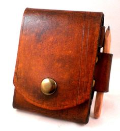 Steampunk Plain Note pad belt pouch with Pencil