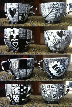 Zentangle. Use paint markers (small and medium) and porcelain mugs.