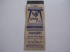 Schlosser's Lincoln Soda Shop 107 East Main St Belleville Illinois Matchcover IL