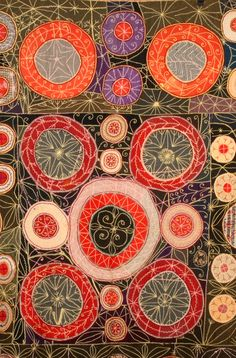 Detail, 1897 hand embroidered wool quilt with circles. Stephen Score Inc. Antiques.  A highlight of the 2013 Metro Show NYC