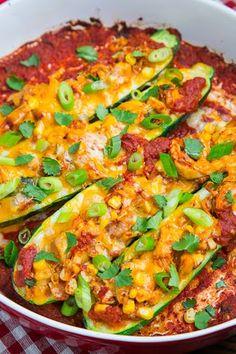 Chicken Enchilada Stuffed Zucchini #Recipe. Great for #celiac #coeliac & #glutenfree! =)
