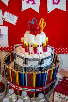 Diaper cake at a Teacher Baby Shower #teacher #babyshower #diapercake