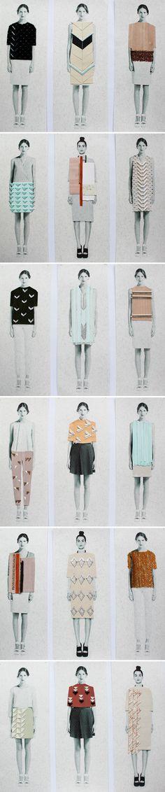 fashion student work, pattern, collage fashion, sketchbook, collage illustrations, anna duthi, fashion illustration collage, textil, fashion illustrations