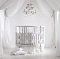 There's not a lot of round cribs out there, and this one is a looker. #rhbabyandchild #fallinlove round crib, restoration hardware, restor hardwar, hardwar babi, nurseri, babi room, cribs, restorations, babies rooms