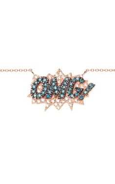 Omg Necklace In 18K Rose Gold And Diamond by Diane Kordas for Preorder on Moda Operandi