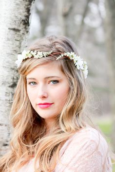ivory cherry blossom hair crown, Bridal Flower Crown, wedding headpiece, head wreath in ivory, hair accessories, bridal, flower girl. $35.00, via Etsy.
